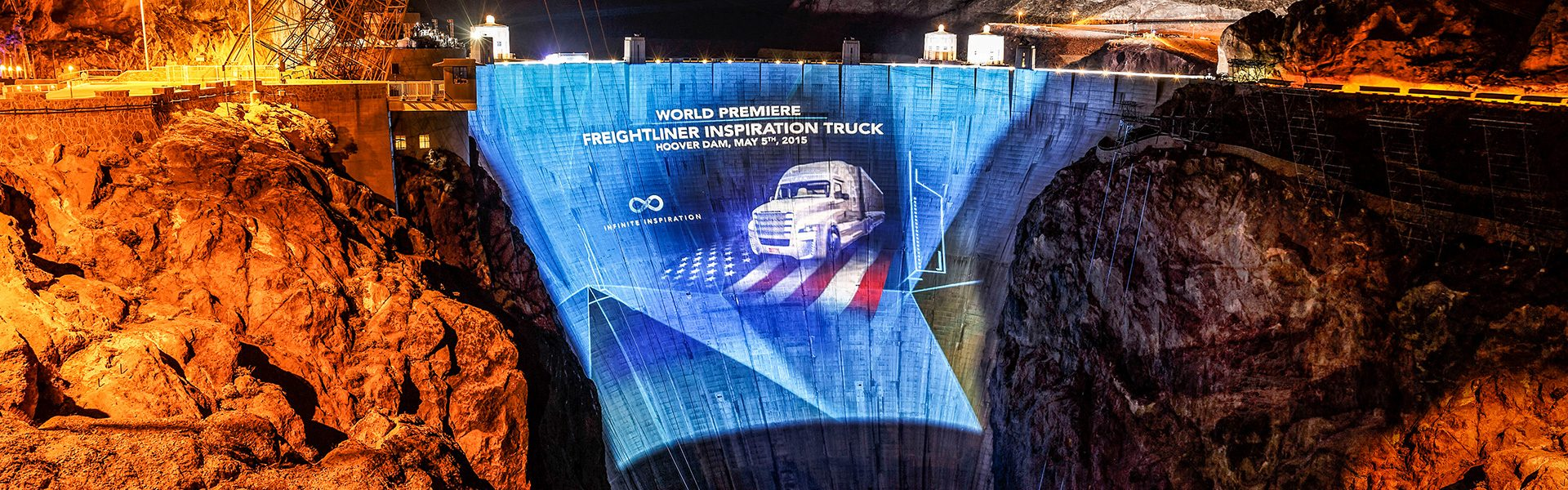 The spectacular world premiere of the Freightliner Inspiration Truck at Hoover Dam
